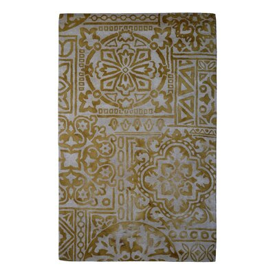 Wool Floral Hand-Tufted Ivory/Gold Area Rug Rug Size: Rectangle 6 x 6