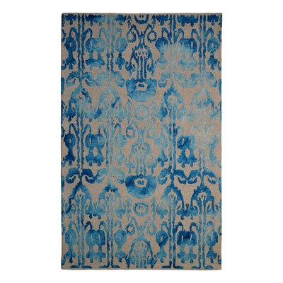 Wool Floral Hand-Tufted Ivory/Blue Area Rug Rug Size: Rectangle 6 x 6