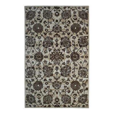 Wool Floral Hand-Tufted Beige/Brown Area Rug Rug Size: 6 x 6