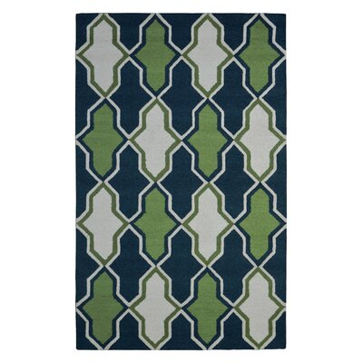 Wool Hand-Tufted Blue/Green Area Rug Rug Size: Rectangle 5 x 8