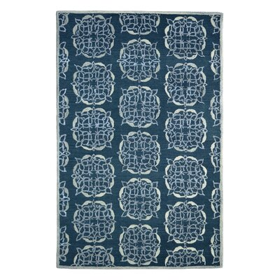 Wool Floral Hand-Tufted Charcoal/Gray Area Rug Rug Size: Rectangle 6 x 6