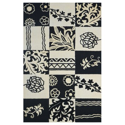 Wool Hand-Tufted Ivory/Black Area Rug Rug Size: Rectangle 6 x 6