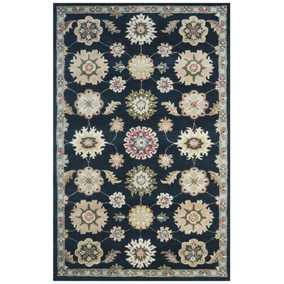 Wool Hand-Tufted Black/Green Area Rug Rug Size: 5 x 8