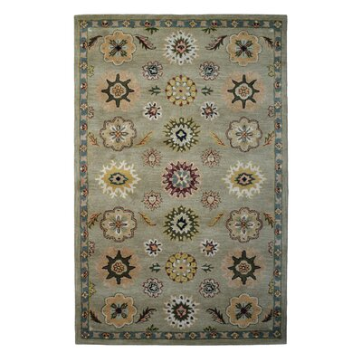 Wool Hand-Tufted Green/Light Blue Area Rug Rug Size: Rectangle 5 x 8