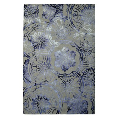 Wool Hand-Tufted Ivory/Purple Area Rug Rug Size: 5 x 8