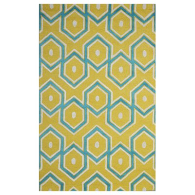 Wool Hand-Tufted Yellow/Blue Area Rug Rug Size: 6 x 6