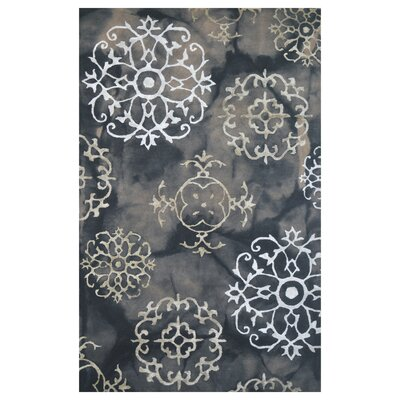 Wool Hand-Tufted Black/Gray Area Rug Rug Size: 5 x 8