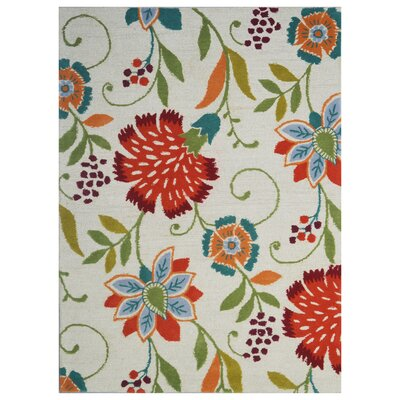 Floral Wool Hand-Tufted Beige/Green Area Rug Rug Size: 6 x 6