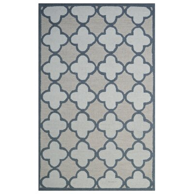 Wool Hand-Tufted Beige/Ivory Area Rug Rug Size: 5x 8