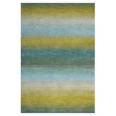 Wool Hand-Tufted Green/Blue Area Rug Rug Size: 5 x 8