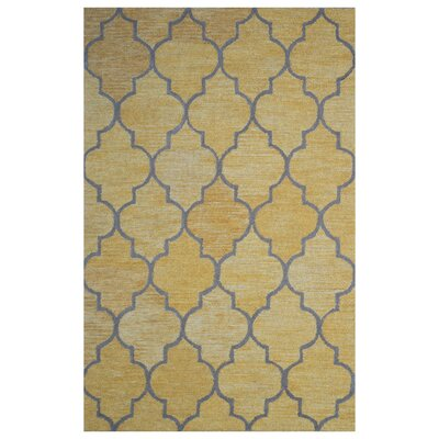 Wool Hand-Tufted Gold/Gray Area Rug Rug Size: 6 x 6