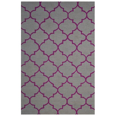 Wool Hand-Tufted Gray/Pink Area Rug Rug Size: 6 x 6