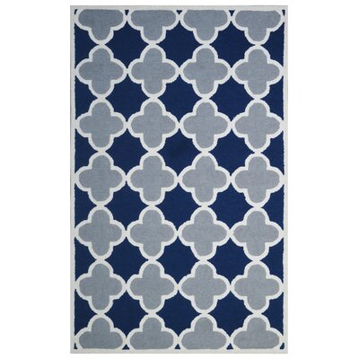 Wool Hand-Tufted Blue/Gray Area Rug Rug Size: 6 x 6