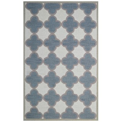 Wool Hand-Tufted Gray/Ivory Area Rug Rug Size: 5' x 8'