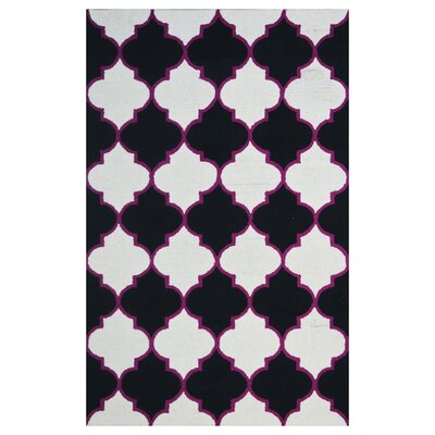 Wool Hand-Tufted Black/Ivory Area Rug Rug Size: 6 x 6