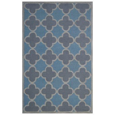 Wool Hand-Tufted Light Blue/Gray Area Rug Rug Size: 5 x 8