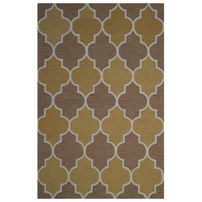 Wool Hand-Tufted Gold/Brown Area Rug Rug Size: 5 x 8