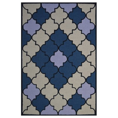 Wool Hand-Tufted Blue/Ivory Area Rug Rug Size: 5 x 8