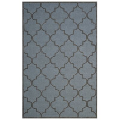 Wool Hand-Tufted Light Blue/Brown Area Rug Rug Size: 5 x 8