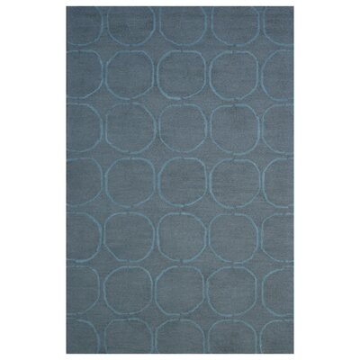 Wool Hand-Tufted Dark Gray/Blue Area Rug Rug Size: 5 x 8