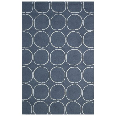 Wool Hand-Tufted Navy Blue/Ivory Area Rug Rug Size: 5 x 8