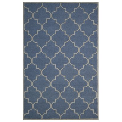 Wool Hand-Tufted Navy Blue/Beige Area Rug Rug Size: 5 x 8