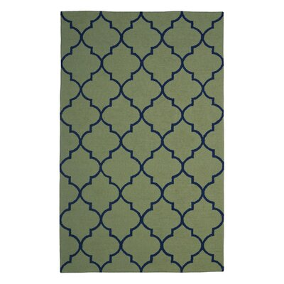 Wool Hand-Tufted Green Area Rug Rug Size: 6 x 6