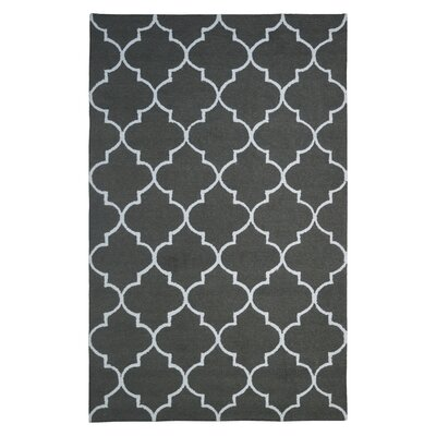 Wool Hand-Tufted Dark Gray Area Rug Rug Size: 5 x 8