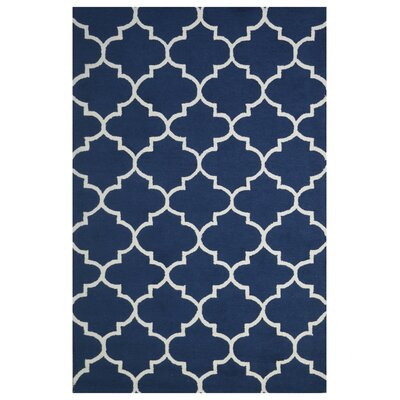 Wool Hand-Tufted Navy Blue Area Rug Rug Size: 5 x 8
