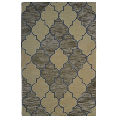 Wool Hand-Tufted Gold/Green Area Rug Rug Size: 6 x 6