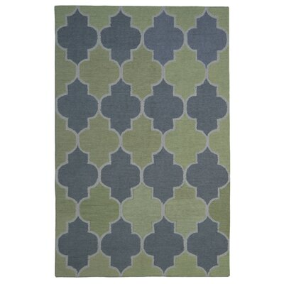 Wool Hand-Tufted Green/Silver Area Rug Rug Size: 5 x 8