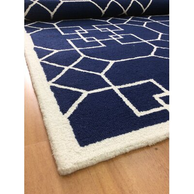 Wool Hand-Tufted Navy Blue/Ivory Area Rug
