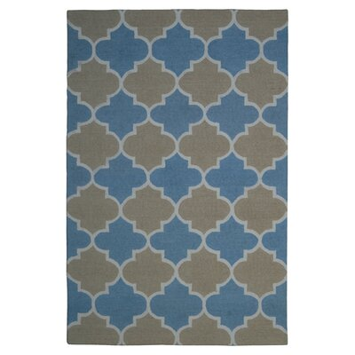 Wool Hand-Tufted Light Blue/Rust Area Rug Rug Size: 5 x 8