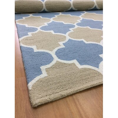 Wool Hand-Tufted Light Blue/Rust Area Rug