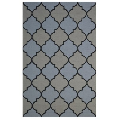 Wool Hand-Tufted Beige/Light Blue Area Rug Rug Size: 5 x 8