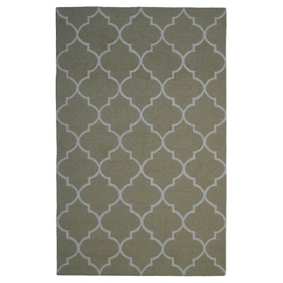 Wool Hand-Tufted Green/Ivory Area Rug Rug Size: 5 x 8