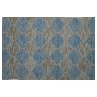 Wool Hand-Tufted Ivory/Blue Area Rug Rug Size: 6 x 6