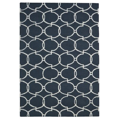 Wool Hand-Tufted Charcoal/Ivory Area Rug Rug Size: 5 x 8