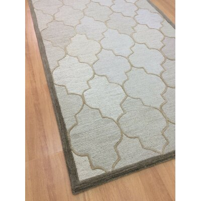 Wool Hand-Tufted Beige/Brown Area Rug Rug Size: 5 x 8