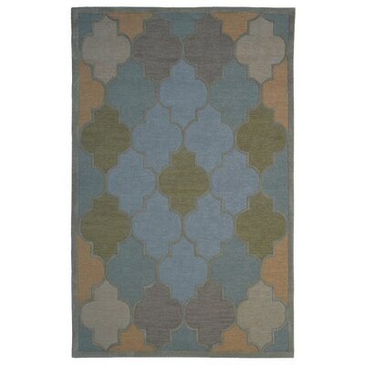 Wool Hand-Tufted Light Blue/Green Area Rug Rug Size: 5 x 8