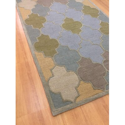 Wool Hand-Tufted Light Blue/Green Area Rug