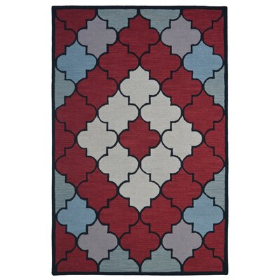 Wool Hand-Tufted Red/Ivory Area Rug Rug Size: 6 x 6