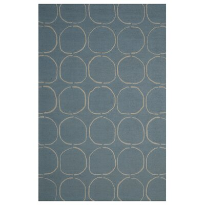 Wool Hand-Tufted Light Blue/Ivory Area Rug Rug Size: 5' x 8'