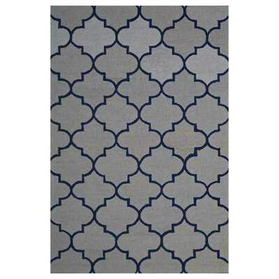 Wool Hand-Tufted Ivory/Navy Blue Area Rug Rug Size: 5' x 8'