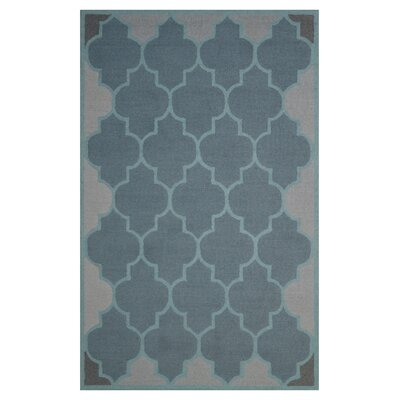 Wool Hand-Tufted Gray/Light Blue Area Rug Rug Size: 6 x 6