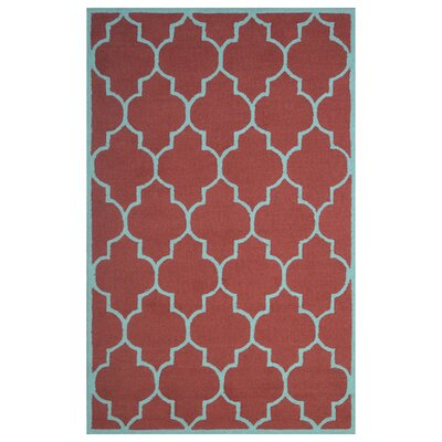 Wool Hand-Tufted Red/Light Blue Area Rug Rug Size: 5 x 8