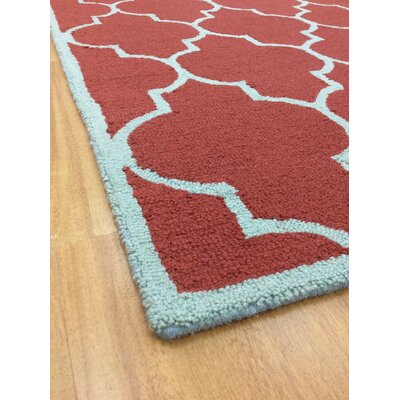 Wool Hand-Tufted Red/Light Blue Area Rug