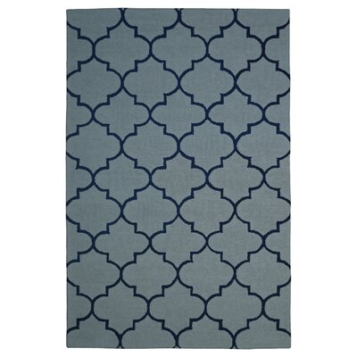 Wool Hand-Tufted Light Blue/Navy Blue Area Rug Rug Size: 6 x 6