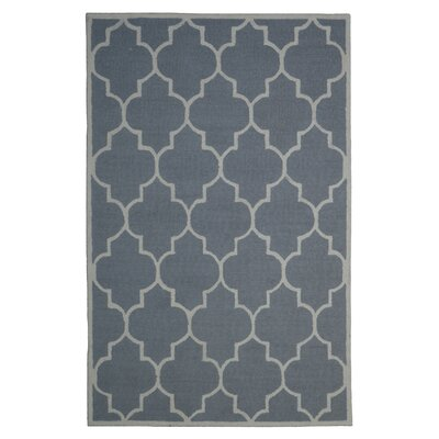 Wool Hand-Tufted Silver/Ivory Area Rug Rug Size: 5 x 8