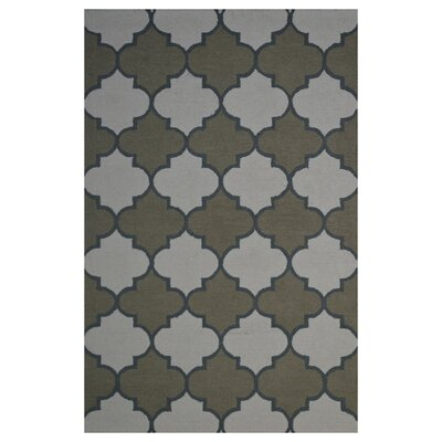 Wool Hand-Tufted Ivory/Green Area Rug Rug Size: 5' x 8'